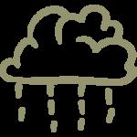 cloud of rain with raindrops falling handmade symbold